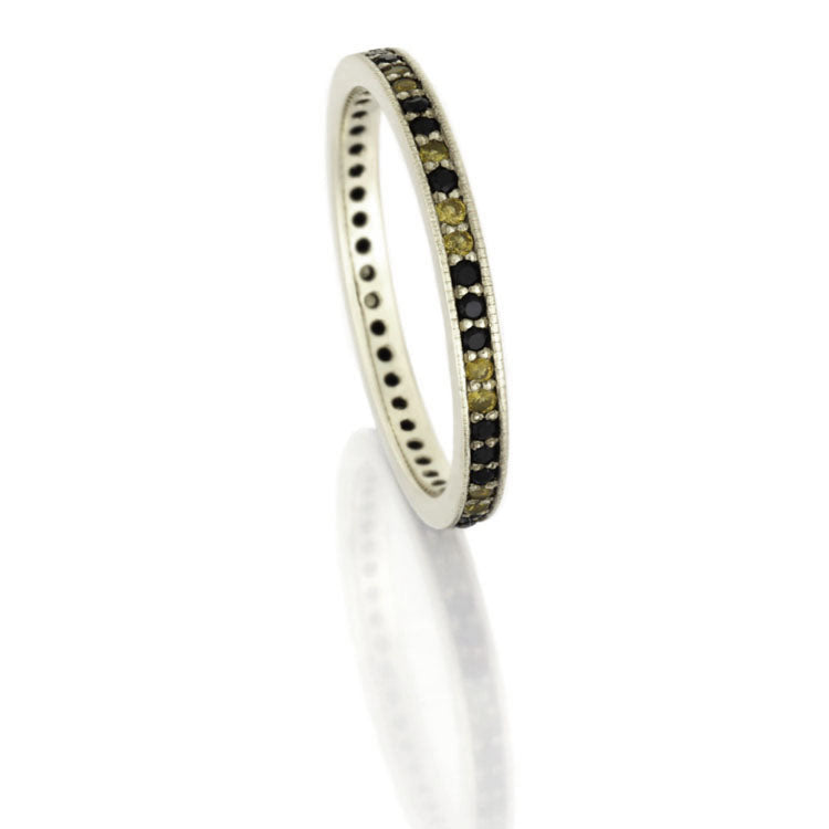 Diamond and Yellow Sapphire Eternity Wedding Band, White Gold Ring - DJ1010WG