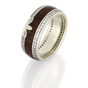 Mahogany Wood Wedding Band, 14k White Gold Eternity Ring With Diamonds - DJ1011WG
