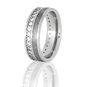 Perseus | Platinum Diamond Eternity Band, Gibeon Meteorite Ring - DJ1012PT