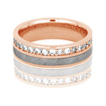 Gibeon Meteorite Ring, Diamond Eternity Band in 14k Rose Gold - DJ1012RG