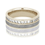 Diamond Eternity Band, Meteorite Wedding Band in 14k White Gold - DJ1012WG
