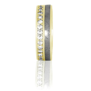 Diamond Eternity Ring, Gibeon Meteorite Band in 14k Yellow Gold - DJ1012YG