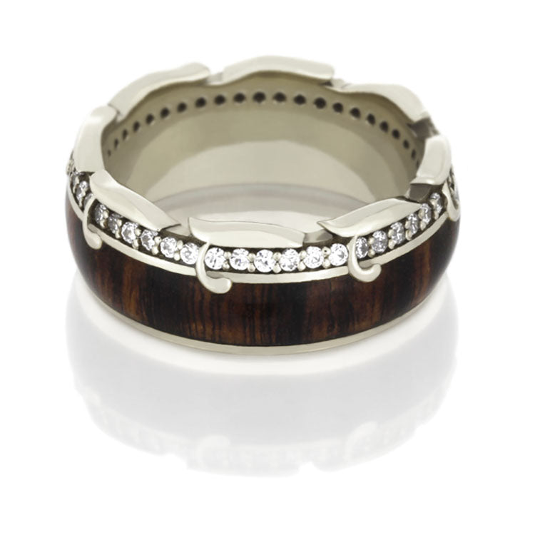 Unique Diamond Eternity Band, King Wood Ring - DJ1013WG