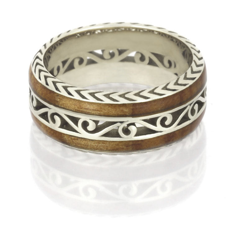 Cherry Wood Wedding Band in 14k White Gold, Filigree Ring - DJ1015WG