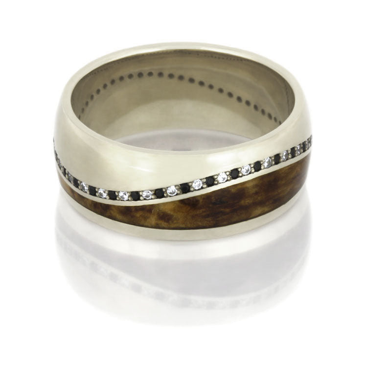Diamond Eternity Wedding Band, Wooden Ring in 14k White Gold - DJ1016WG