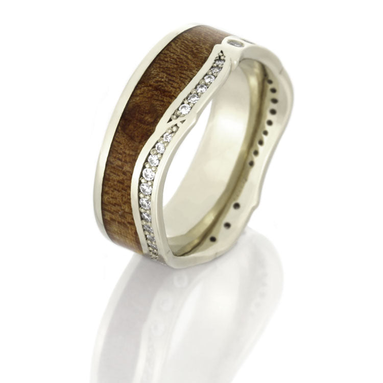 Diamond Eternity Band in 14k White Gold, Maple Wood Ring - DJ1018WG