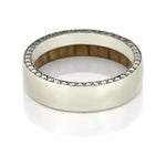 14k White Gold Eternity Ring, Gemstone Wedding Band With Oak Wood - DJ1019WG