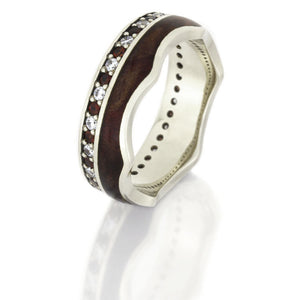 Gemstone Eternity Ring, 14k White Gold Band With Ruby Redwood Burl - DJ1020WG