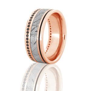 Seymchan Meteorite Band, Black Diamond Eternity Ring in 14k Rose Gold - DJ1022RG