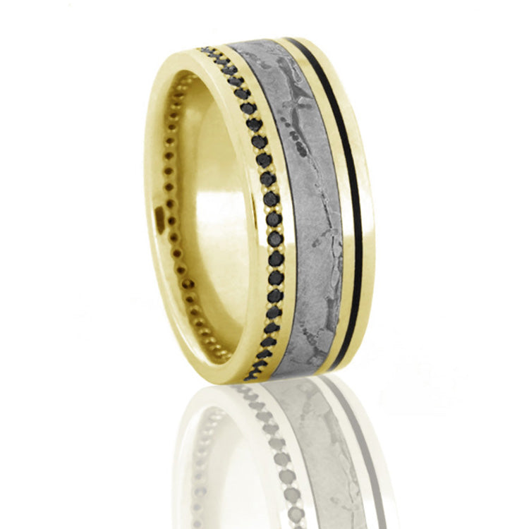 Seymchan Meteorite Wedding Band, Black Diamond Eternity Ring in 14k Yellow Gold - DJ1022YG