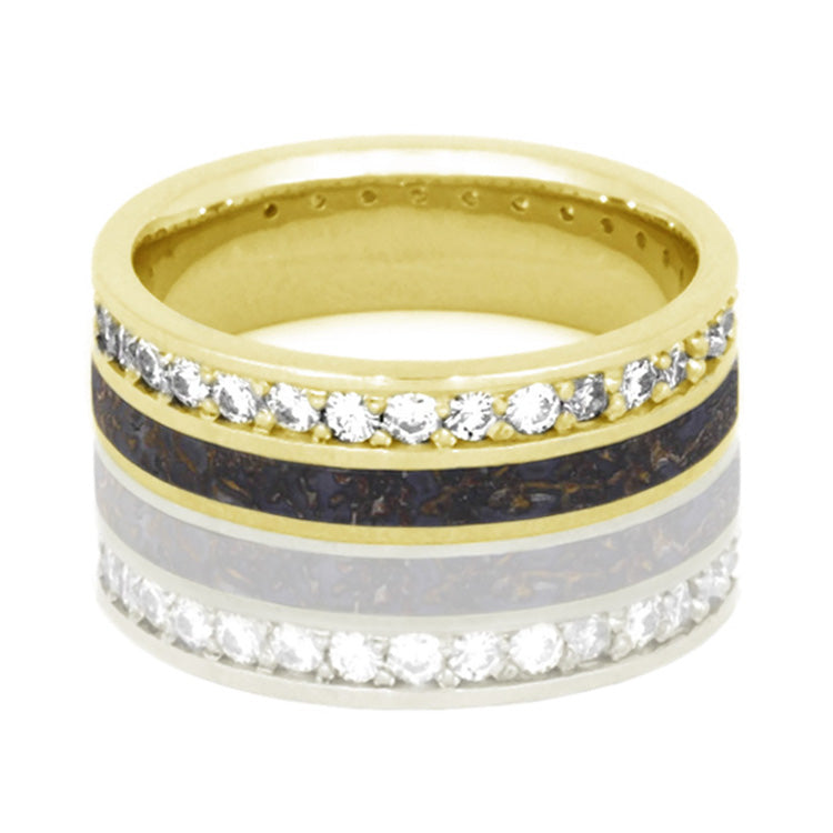 Dinosaur Bone Ring, Diamond Eternity Band in 14k Yellow Gold - DJ1023YG