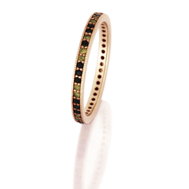 Gemstone Eternity Ring, 14k Rose Gold Wedding Band - DJ1010RG