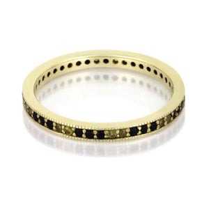 Yellow Gold Ring, Diamond and Sapphire Eternity Band