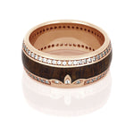 Mahogany Wood Wedding Band, 14k Rose Gold Eternity Ring With Diamonds - DJ1011RG