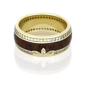 Yellow Gold Eternity Ring, Mahogany Wedding Band