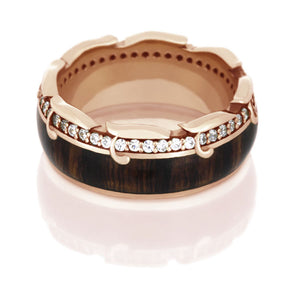 King Wood Wedding Band, Diamond Eternity Ring in 14k Rose Gold - DJ1013RG