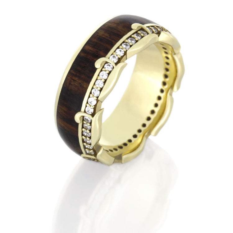 14k Yellow Gold Ring, Diamond Eternity Band With King Wood - DJ1013YG