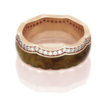 Teak Wood Ring With Crown Design, Diamond Eternity Wedding Band - DJ1014RG