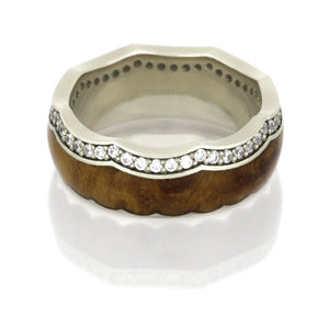 14k White Gold Eternity Ring With Teak Wood And Diamond Accents - DJ1014WG