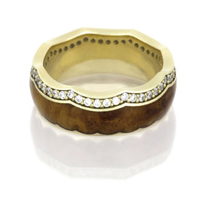 Yellow Gold Diamond Eternity Band with Crown Design