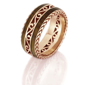 Vintage Inspired Eternity Band, Cherry Wood Ring in 14k Rose Gold - DJ1015RG