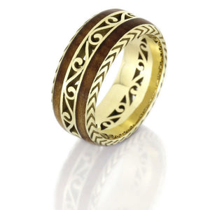 Filigree Eternity Band With Cherry Wood, 14k Yellow Gold Vintage Inspired Ring- DJ1015YG