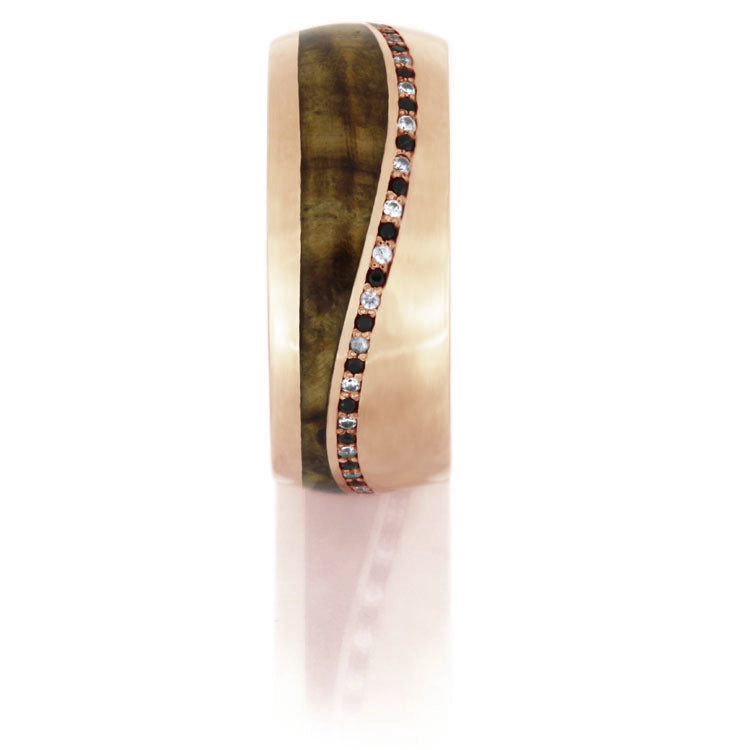 Black Ash Burl Wood Ring, Wavy Diamond Eternity Band in 14k Rose Gold - DJ1016RG