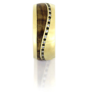 Yellow Gold Wedding Band with White and Black Diamonds
