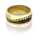 Barlowe │ Yellow Gold Wedding Band with White and Black Diamonds - DJ1016YG