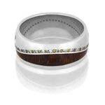 Wood Eternity Ring, Gemstone Wedding Band