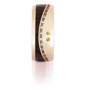 14k Rose Gold Band, Gemstone Eternity Ring With Leopard Wood - DJ1017RG