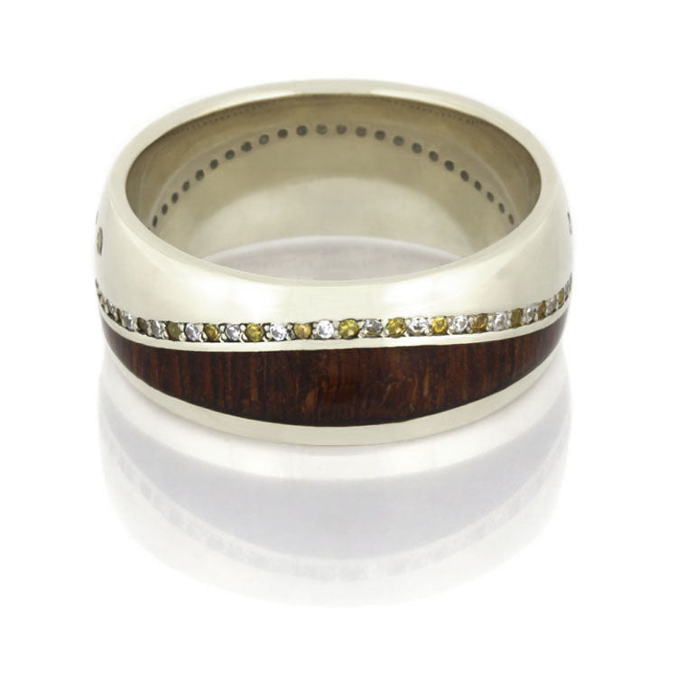 14k White Gold Wedding Band, Gemstone Eternity Ring With Leopard Wood - DJ1017WG