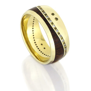 Wood Wedding Band, Yellow Gold Ring with Gemstones