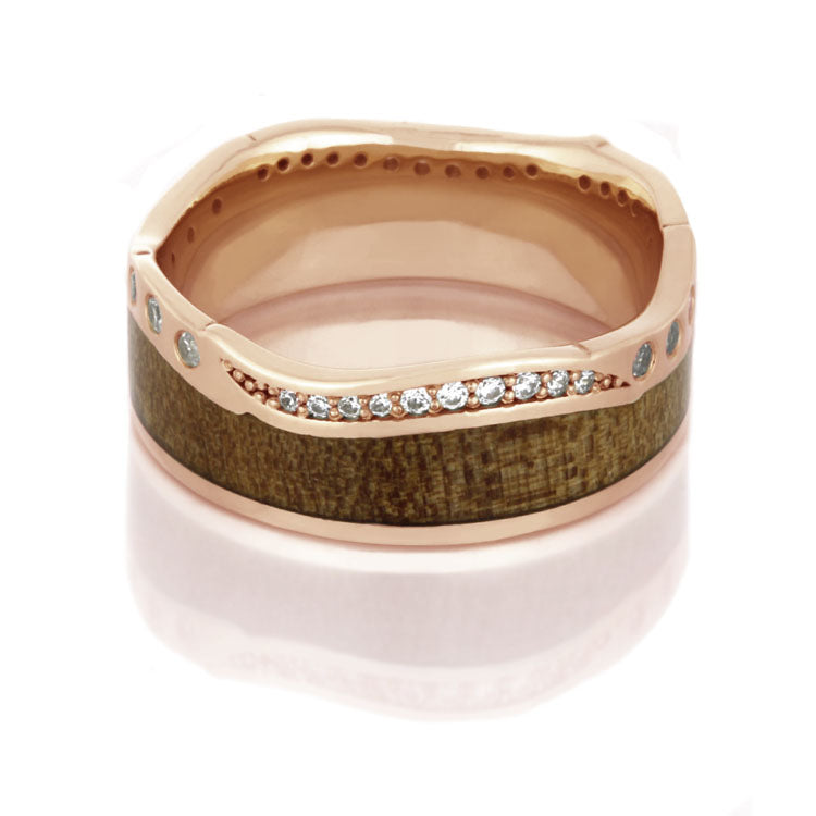 14k Rose Gold Diamond Eternity Ring, Maple Wood Wedding Band - DJ1018RG