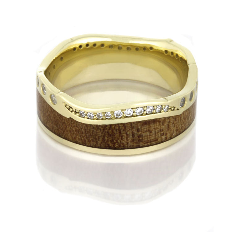 Wood Wedding Band with Diamond Eternity Design