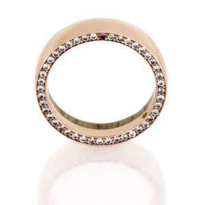 14k Rose Gold Wedding Band With Oak Wood Sleeve, Gemstone Ring - DJ1019RG