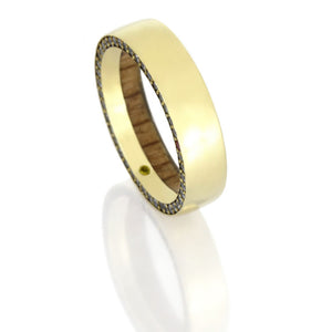 Gemstone Eternity Ring, 14k Yellow Gold Wedding Band With Oak Wood - DJ1019YG