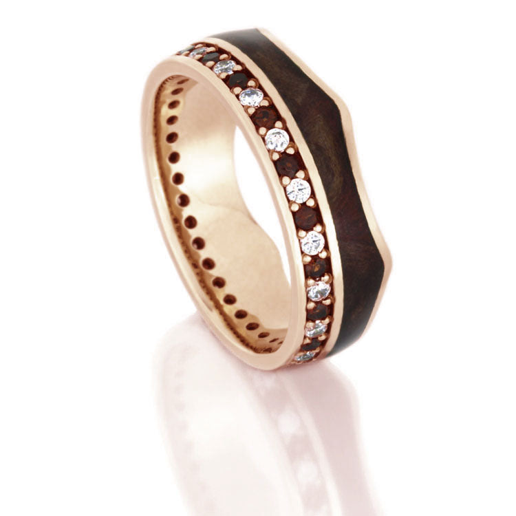 Crown Ring, Rose Gold Eternity Wedding Band With Gemstones - DJ1020RG