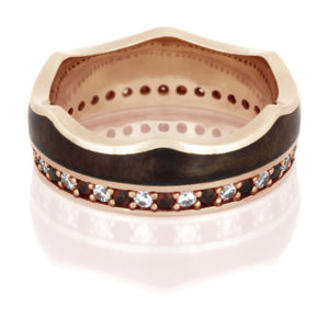 Crown Ring, Rose Gold Eternity Wedding BandCrown Ring, Rose Gold Eternity Wedding Band With Gemstones - DJ1020RG