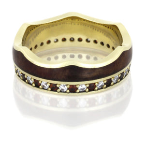 Ruby Eternity Band, Wood Ring in 14k Yellow Gold, Crown Ring - DJ1020YG