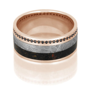 Meteorite Ring, Dinosaur Bone Band in Rose Gold, Black Diamond Eternity Ring - DJ1021RG