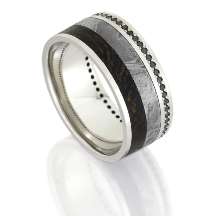 Dinosaur Bone and Meteorite Wedding Band, Black Diamond Eternity Ring - DJ1021WG