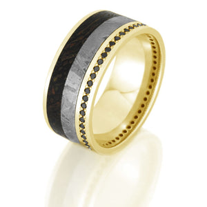 Black Diamond Eternity Band, Dinosaur Bone and Meteorite Ring - DJ1021YG