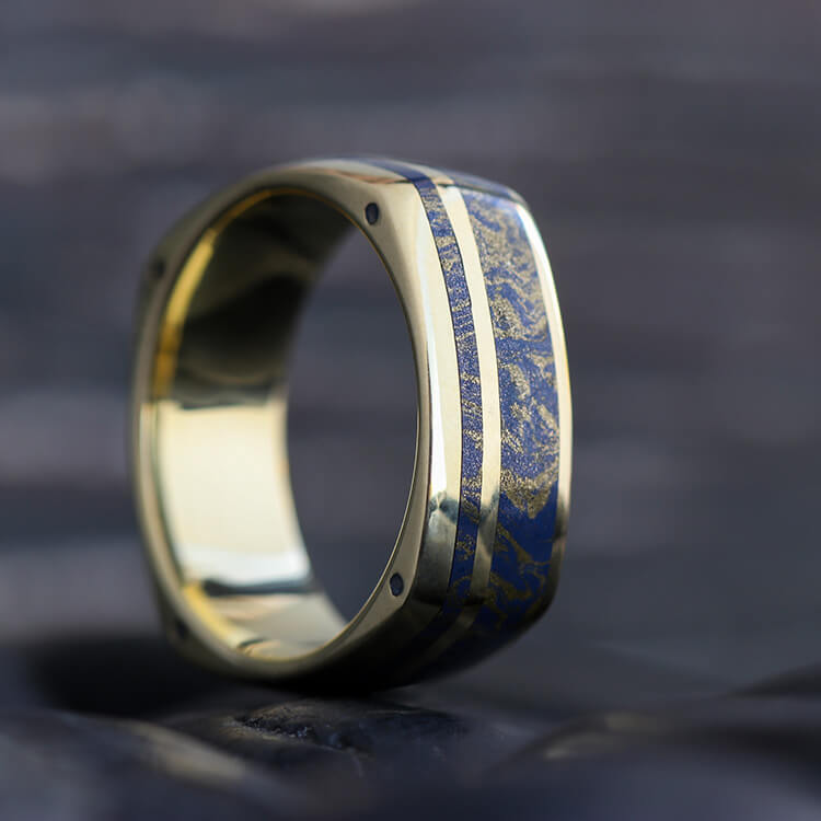 Yellow Gold Square Ring with Lapis Lazuli Mokume - DJ1003YG