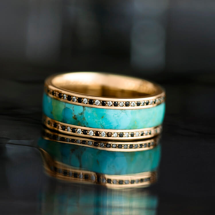 Turquoise Wedding Band, 14k Rose Gold Eternity Ring With Diamonds - DJ1005RG