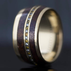 Magnus | Dinosaur Bone Wedding Band, 14k White Gold Gemstone Eternity Ring- DJ1006WG