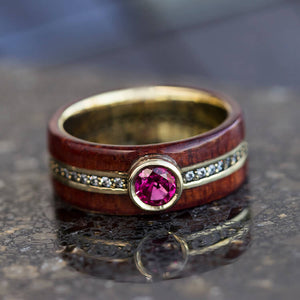 Phoenix │ Ruby Ring With Diamond Eternity Band And Rosewood in 14k Yellow Gold - DJ1008YG