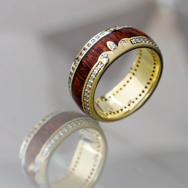 Casper │ Yellow Gold Eternity Ring, Mahogany Wedding Band - DJ1011YG