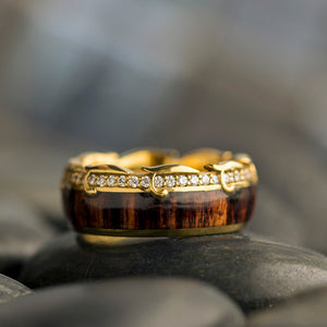 Titus | 14k Yellow Gold Ring, Diamond Eternity Band With King Wood - DJ1013YG