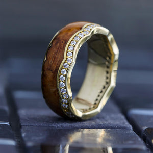 Yellow Gold Diamond Eternity Band with Crown Design - DJ1014YG
